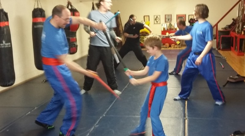 WCMA Students sparring with rubber weapons in preparation for the upcoming Competition.